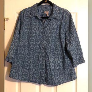 Chico's Denim Printed Collar Shirt Size 3